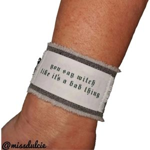 Witch Wiccan Bracelet Cuff Quote Black Witchcraft